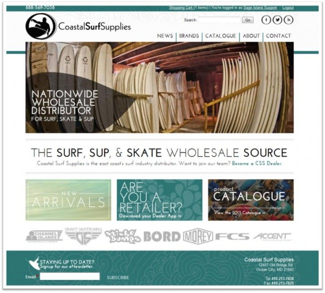Sage Island presents new Coastal Surf Supplies website