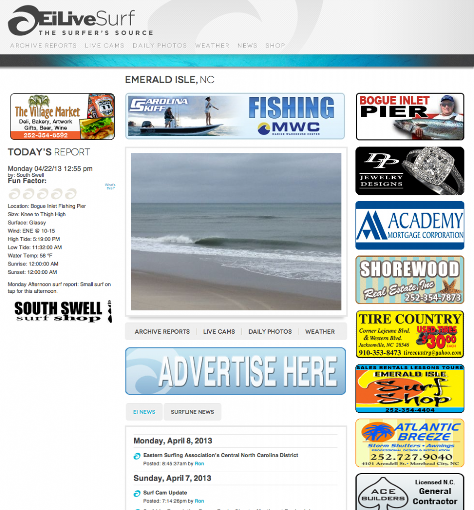 Emerald Isle Live Surf Web Design by Sage Island