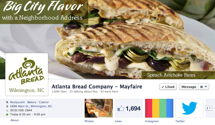 Atlanta Bread Company at Mayfaire Facebook Graphics by Sage Island