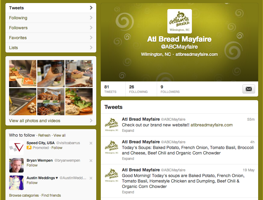 Atlanta Bread Company at Mayfaire Twitter Graphics by Sage Island
