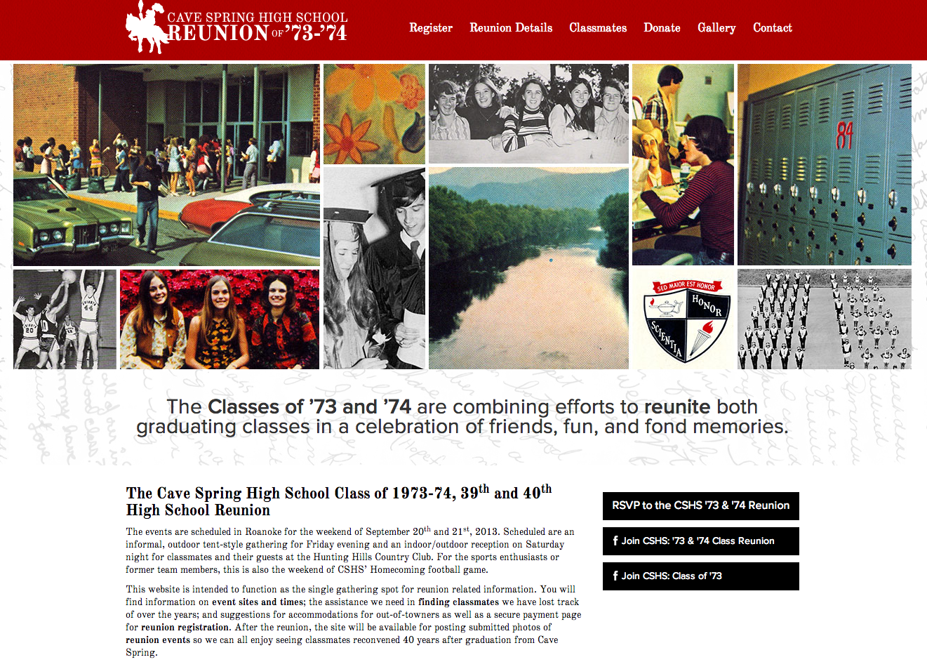 Cave Spring High School Reunion Website Design by Sage Island
