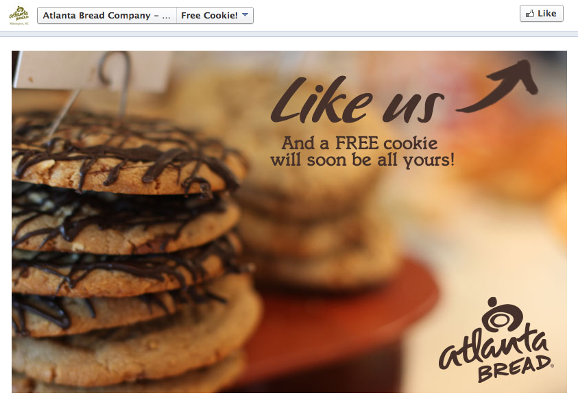 Free Cookie Atlanta Bread Company Mayfaire Facebook Promo by Sage Island