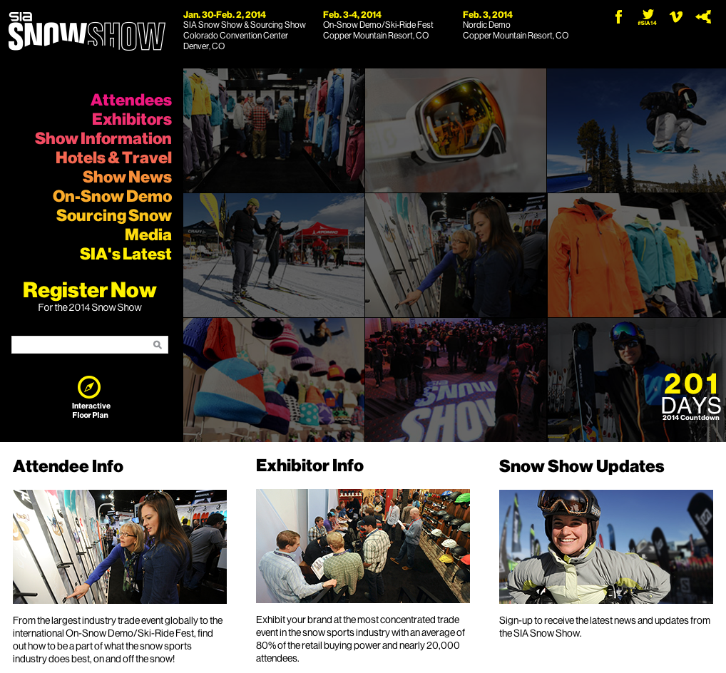 2014 SIA SnowShow Website Design by Sage Island