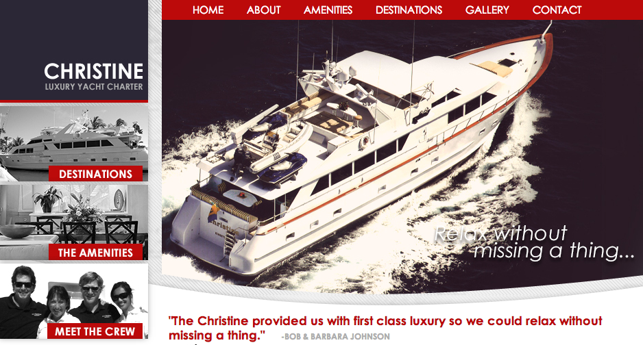 Christine Yacht Charter Website Development by Sage Island