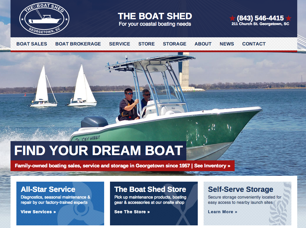 The Boat Shed Web Design by Sage Island