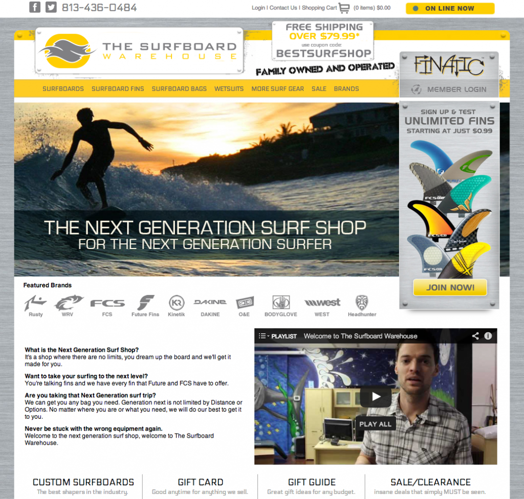 The Surfboard Warehouse Website Redesign and Development by Sage Island