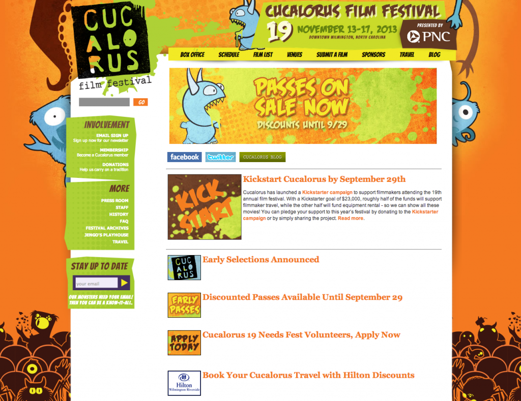 Cucalorus Film Festival Website Design by Sage Island