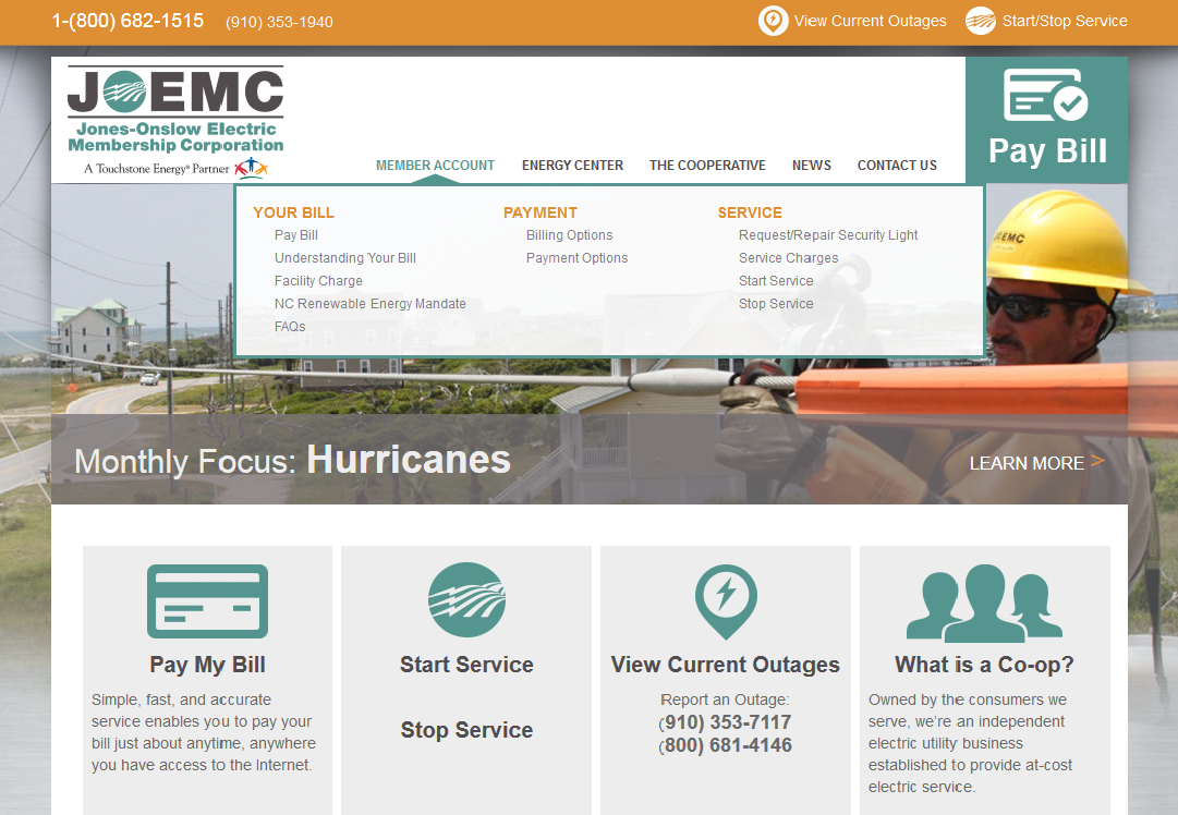 Jones Onslow Electric Membership Corporation Mega Menu Website Development by Sage Island