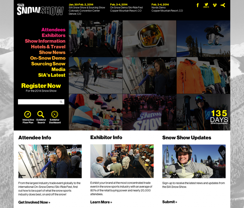 SIA SnowShow Site Design by Sage Island