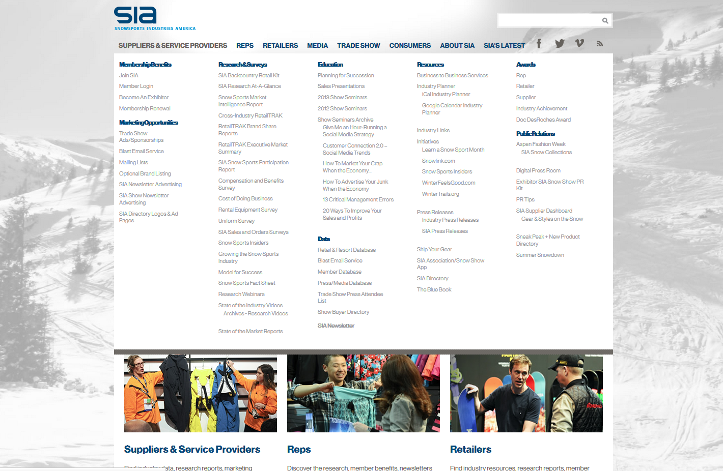SnowSports Mega Menu Website Development by Sage Island