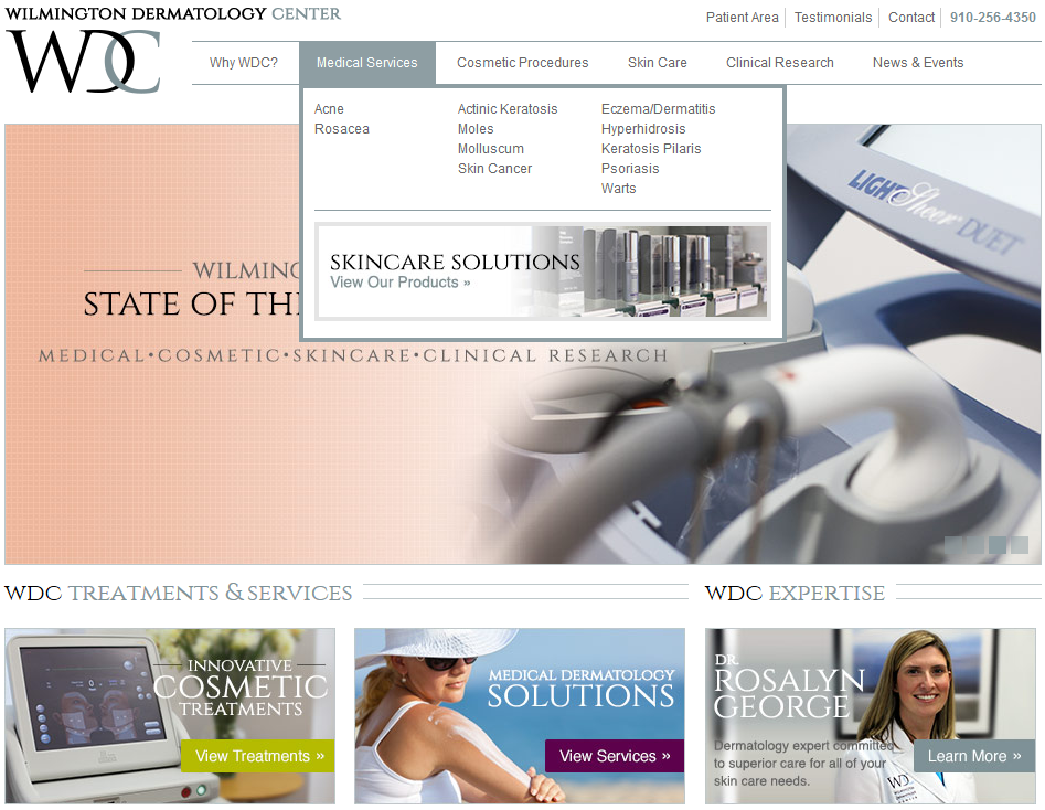 Wilmington Dermatology Center Mega Menu Website Development by Sage Island