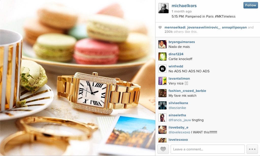 First Instagram Ad by Michael Kors - Sage Island Blog
