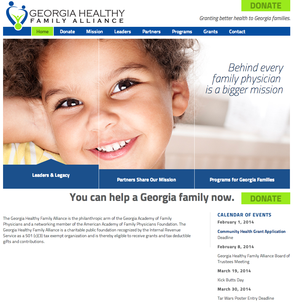 Georgia Healthy Family Alliance Website Redesign by Sage Island