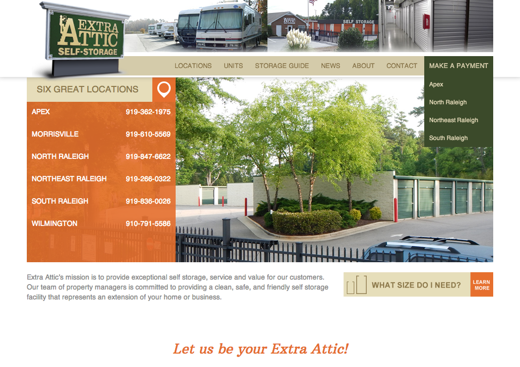 Extra Attic Self Storage Website Development by Sage Island