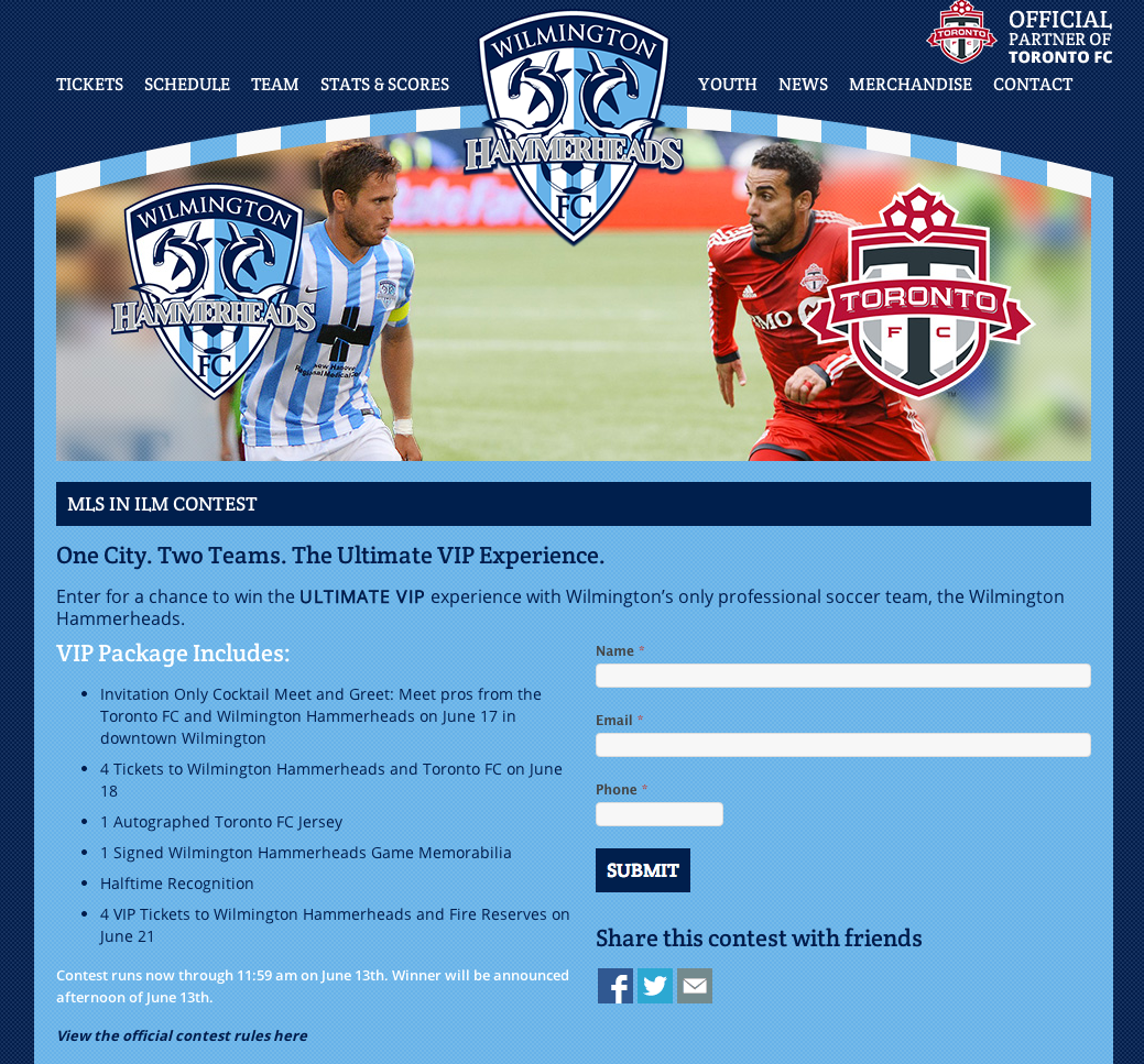 Wilmington Hammerheads MLS in ILM Contest