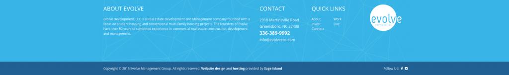 Evolve Companies Website Footer