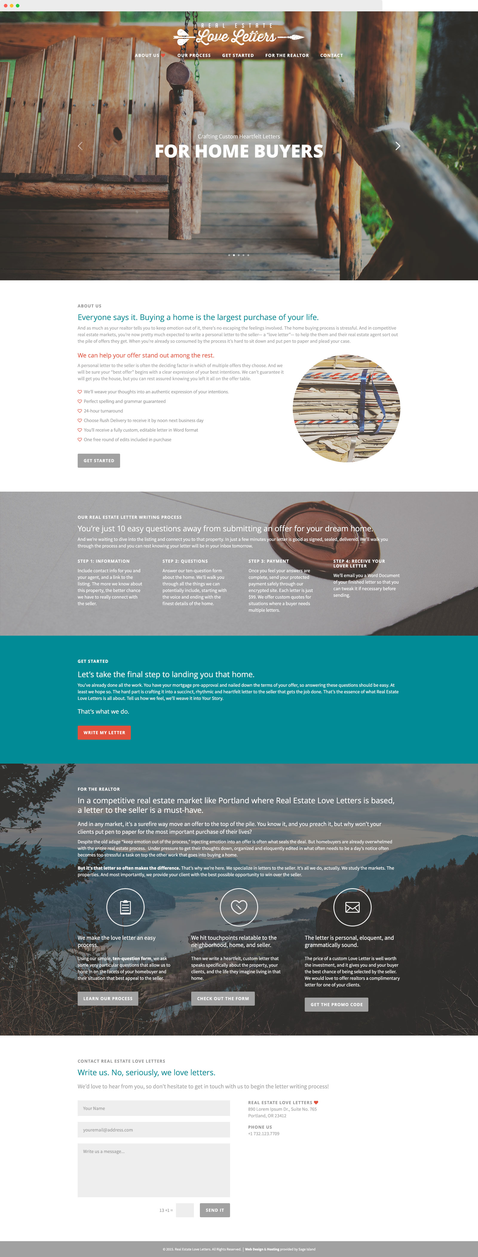 real estate love letters writing services website design