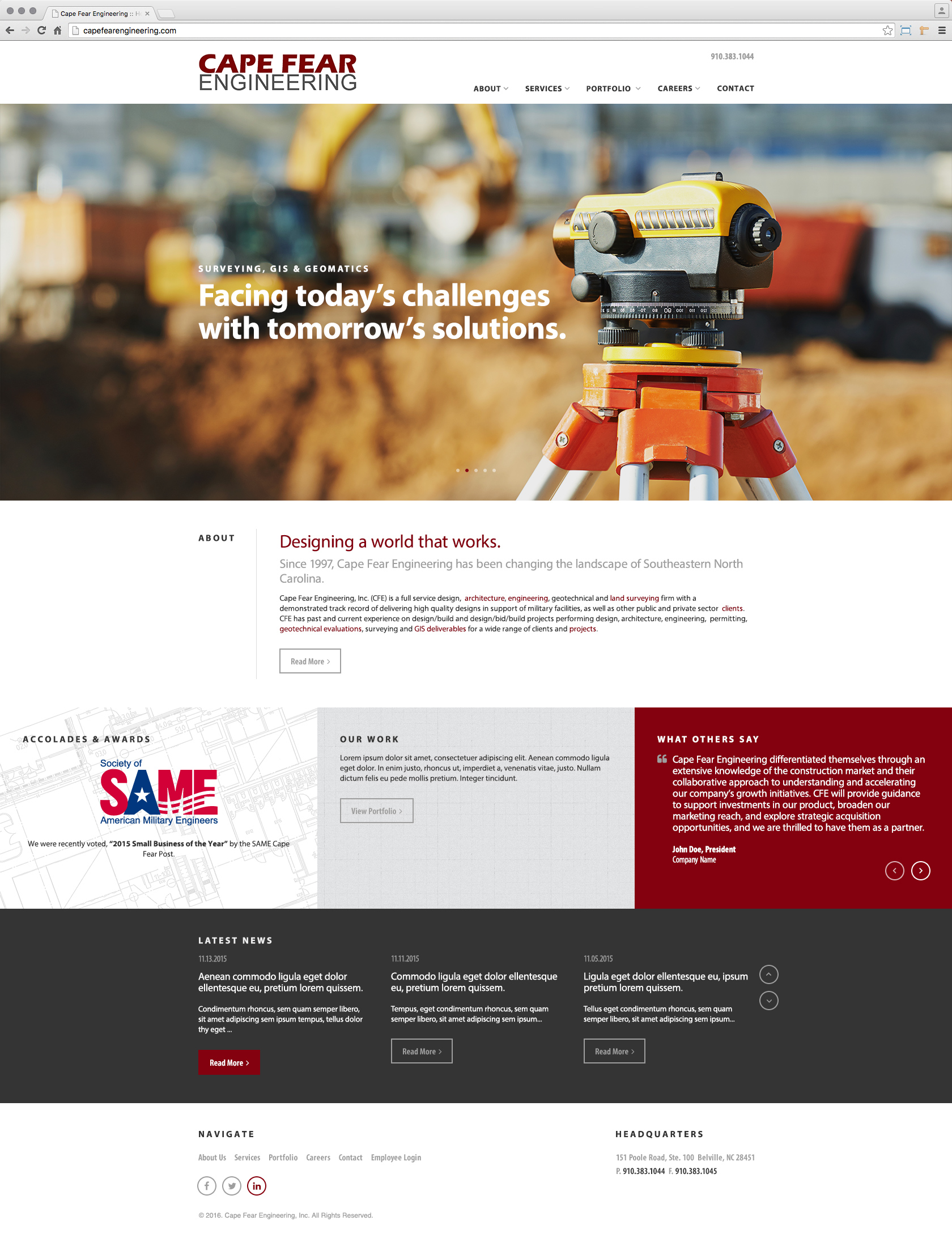 Cape Fear Engineering Civil Design Firm Home Page