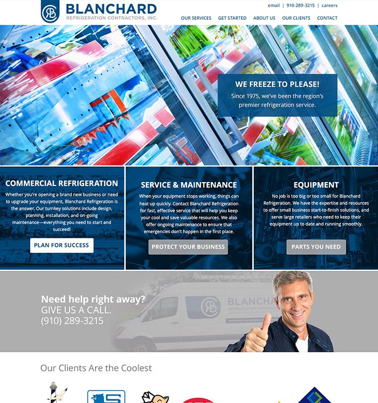Blanchard Refrigeration Contractors Website Development