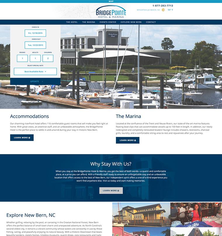 The Bridge Pointe Hotel and Marina Website Development