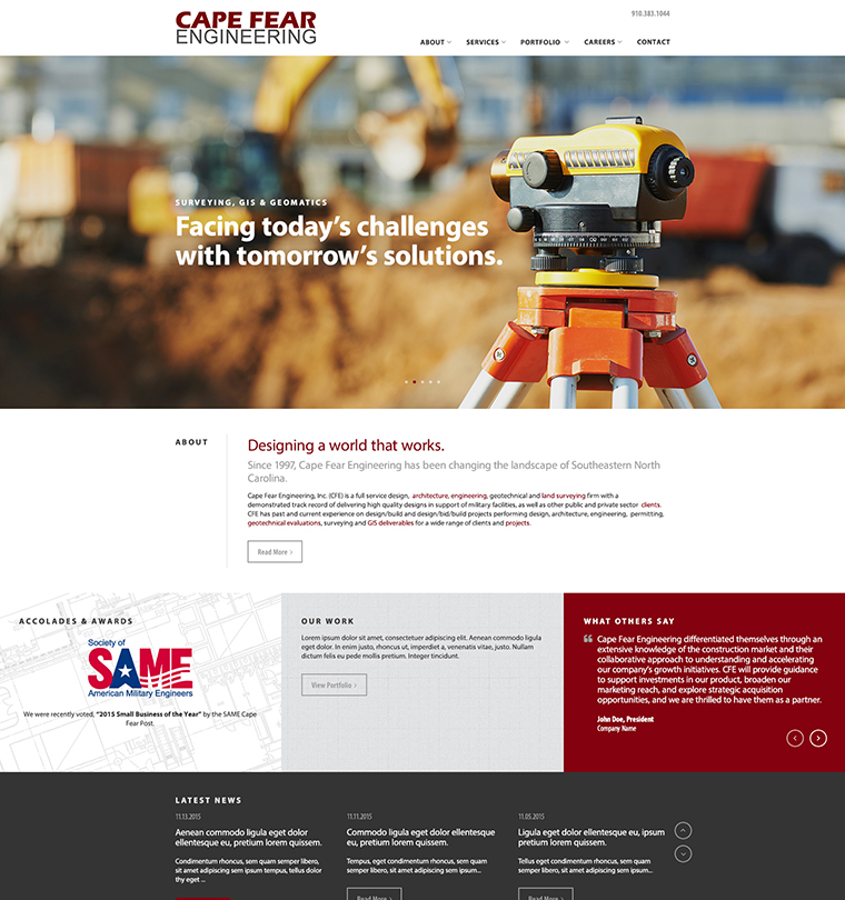 Cape Fear Engineering Firm Website Development