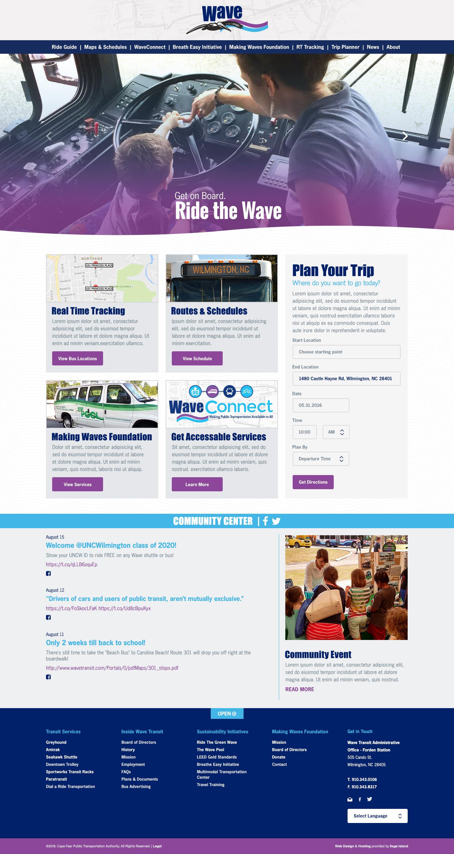 Wave Transit public transportation web design